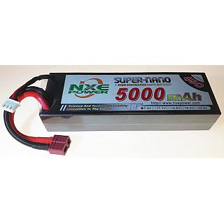 NXE Lipo Battery 7.4V 5000mAh 2S 45C Super Nano Hard Case Deans