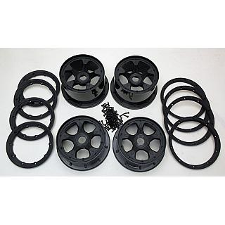 Baja 5B Wheels & Beadlock Set 5 Spoke Black Beadlocks