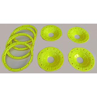 30°N Beadlock Set Enclosed Yellow fit Losi 5ive T 5B DTT by 30D