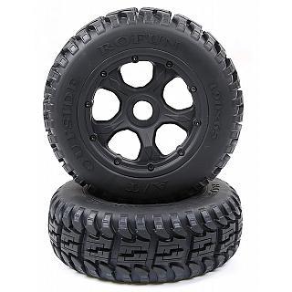Rovan Yellow Beadlock Wheels 24mm Rims and Dirt Buster Tires HPI Baja King Motor