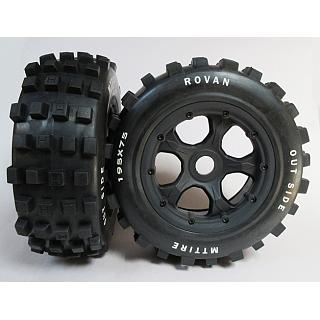 Knobby Tyres & 5 Spoke Wheels fit Baja Front & F/R Losi LT X2 DT