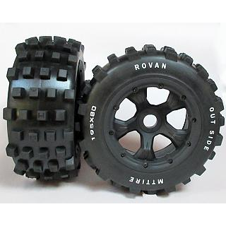 Knobby Tyres & 5 Spoke Wheels Rear Baja & F/R Losi LT X2 DTT Vek