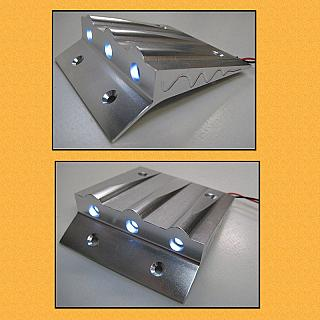 Baja Lighted Roof Scoop with 3 LED Lights Alloy Silver F5M