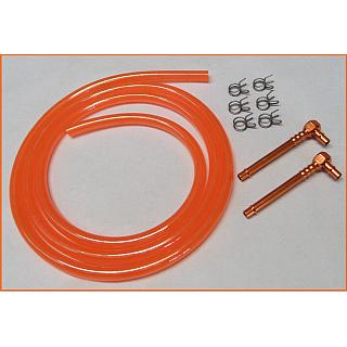 High Flow Fuel Kit Alloy Fittings & Orange Fuel Line