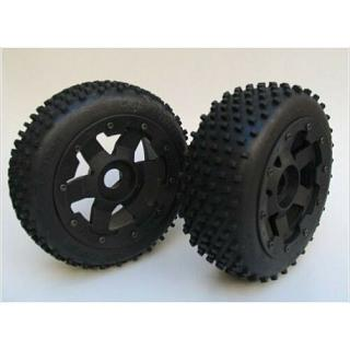 Rovan Front Dirt Buster Mini Pin Tyres on 6 Spoke Wheels 170x60