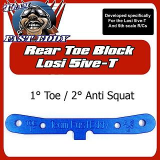 Team FastEddy 1° Toe 2° Anti Squat Rear Toe Block for Losi 5ive