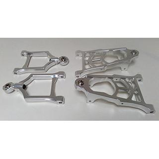 Baja Front Suspension set Alloy Lower & Upper Arms Silver