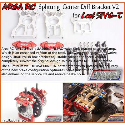Clearance Losi5 SPLITTING Centre Diff Bracket & Brake Silver by